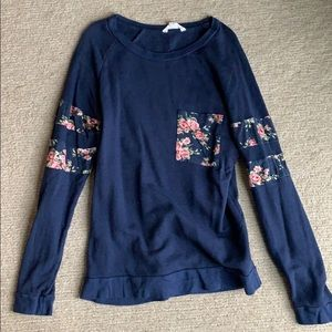 Caslon navy and floral accent crew neck